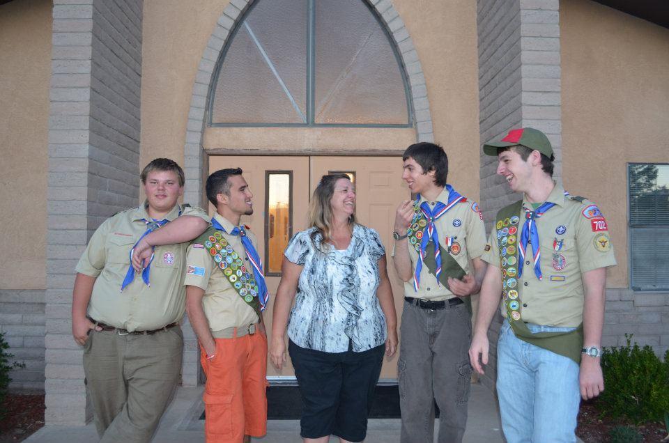 R4 Founding Eagle Scouts, with Coach Gruenig   Zak, Cliff, Sean and Daniel